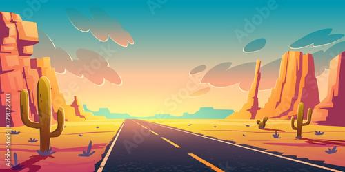 Fotografija Sunset in desert with road, cactuses and rocks