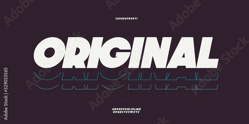 Fotografia Vector original bold font white color trendy typography for t shirt, game, book, racing, infographics