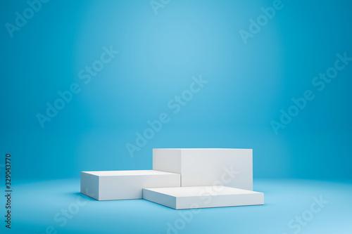 Obraz na plátně White podium shelf or empty studio display on vivid blue summer background with minimal style