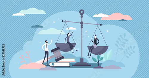 Wallpaper Mural Justice concept, tiny persons vector illustration