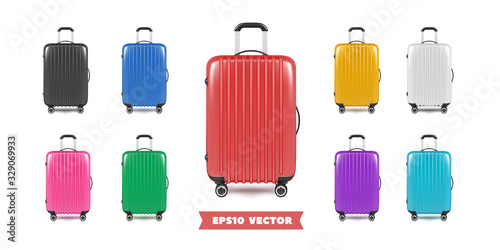 Photo Travel bag luggage realistic collection. Vector illustration.