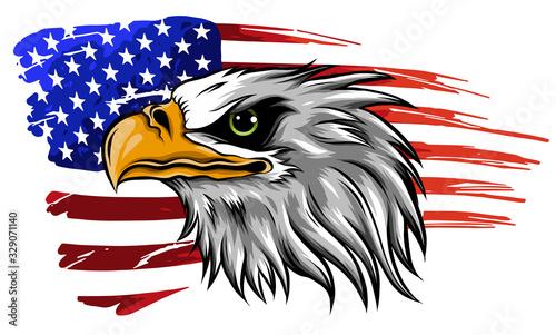 Foto american bald eagle illustration vector against flag