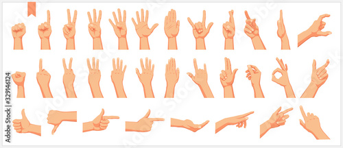 Canvas Print Set of realistic human hands, signs and gestures, figures and finger movements i