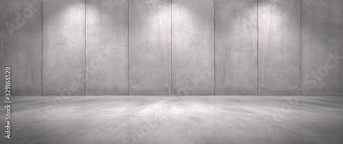 Leinwand Poster Concrete Wall Background with Floor Empty Garage Scene