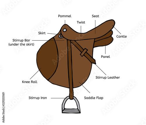 Fotografija Vector hand drawn doodle sketch colored horse riding equestrian sport saddle wit