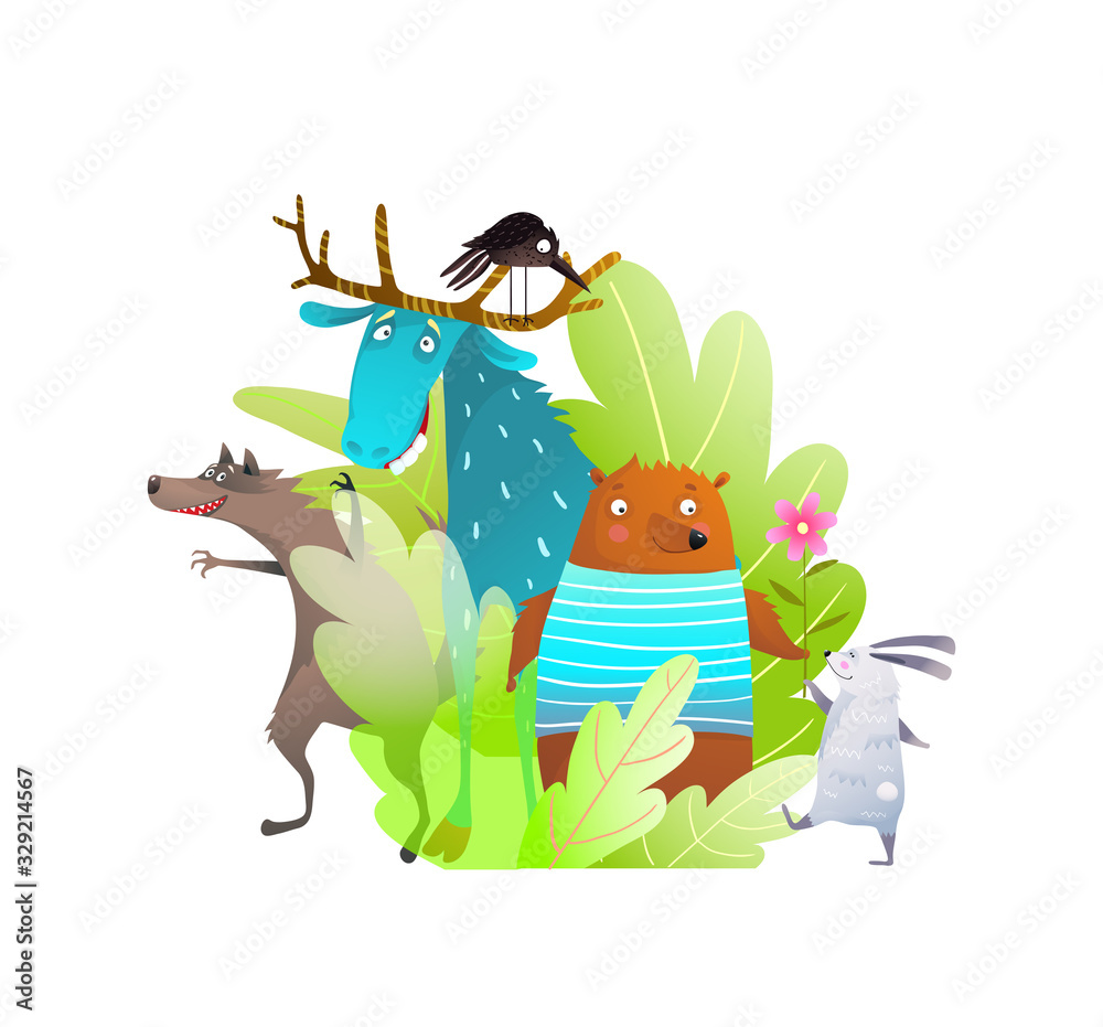 Humour kids animals of forest or woodland funny characters of moose bear rabbit crow and wolf in the bush. <span>plik: #329214567 | autor: Popmarleo</span>