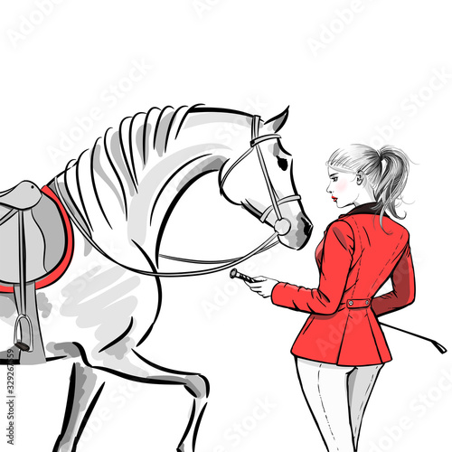 Tablou Canvas Beautiful fashion woman with english equestrian sport hunting style red jacket and horse with saddle