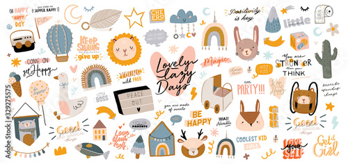 Photo Cute kids scandinavian characters set including trendy quotes and cool animal decorative hand drawn elements