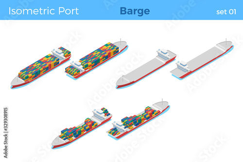 Loaded Barge with Containers and empty isometric vector illustration set Fototapeta