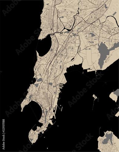 Fototapeta map of the city of Mumbai, Indian state of Maharashtra