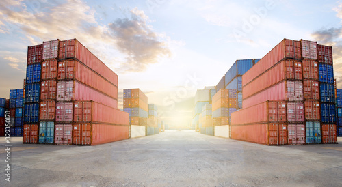 Fotografie, Tablou Transportation Logistics of international container cargo shipping and cargo plane in container yard, Freight transportation, International global shipping