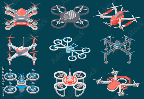 Tela Drones with propellers vector, isolated set of different kinds and models of helicopters
