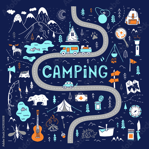 Valokuvatapetti Camping map with lettering