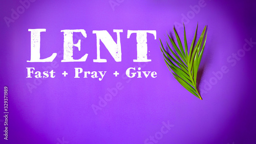 Fotografia, Obraz Lent Season,Holy Week and Good Friday concepts - word lent fast pray give in pur