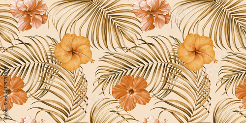 Seamless pattern with tropical branches and hibiscus flowers on white backgro...
