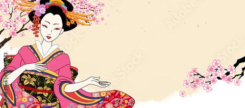 Valokuva Beautiful geisha in pink kimono