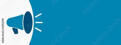 Vászonkép Megaphone or loudspeaker flat icon. Vector illustration