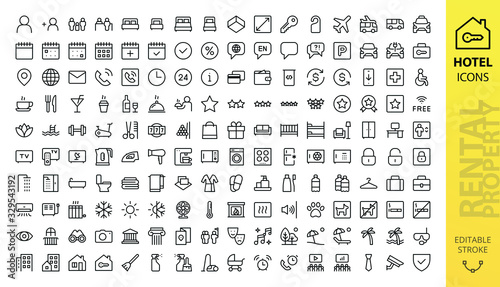 Hotel icons set. Rental property isolated icons. Set of apartment reservation, hotel booking, rent hostel room, airport shuttle, room area, flat rent, five-star hotel, service line vector web icon