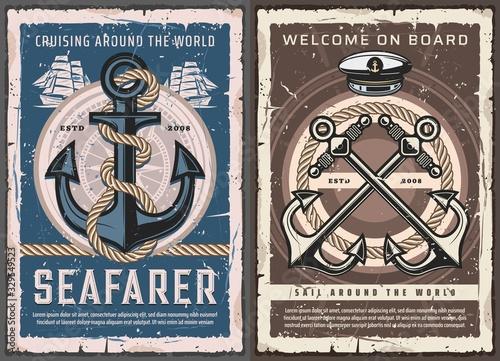 Carta da parati Sea ship anchors, sail boat helm and ropes, vintage nautical compass and captain hat vector design of marine travel and sailing sport
