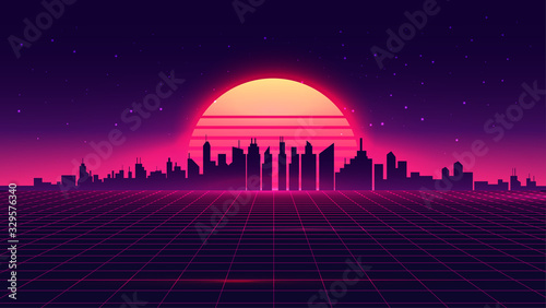 Foto Retro futuristic synthwave retrowave styled night cityscape with sunset on background