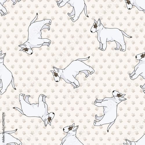 Photo Hand drawn cute bull terrier dog breed seamless vector pattern