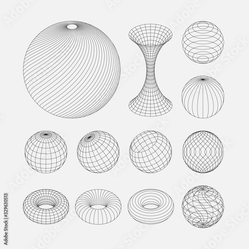 Photo Wireframe earth grid mesh objects set