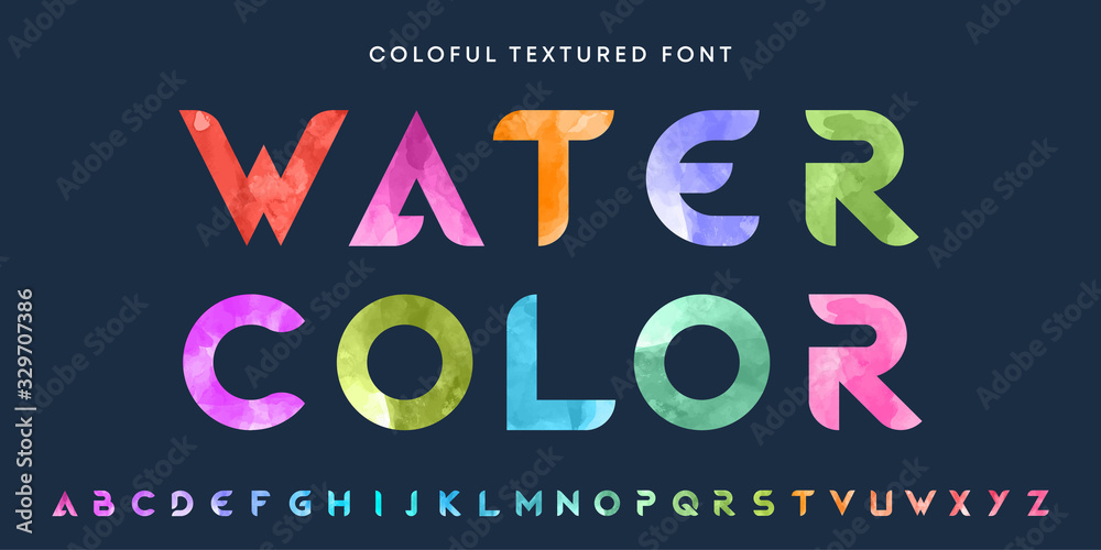 Simple bold watercolor textured font. Colorful letters set. Business logo design template bundle. <span>plik: #329707386 | autor: Eva Kali</span>