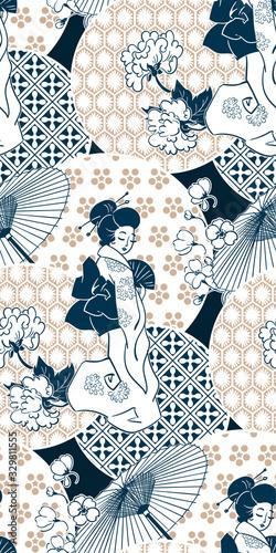Obraz na plátně geisha girl fan umbrella kimono circles japanese chinese vector design pattern b