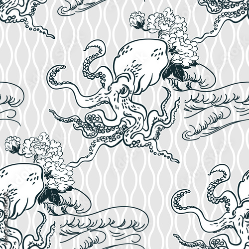 Stampa su Tela octopus oriental japanese chinese vector design seamless pattern
