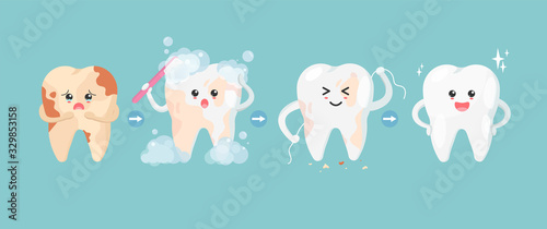 Photo Cute tooth characters in flat style