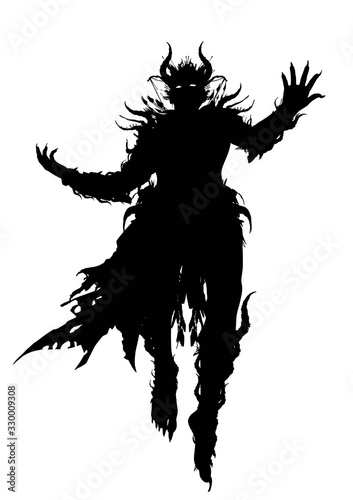 Vászonkép The silhouette of a demon wizard floating majestically in the air, dressed in a ragged robe, decorated with spikes and horns all over his body