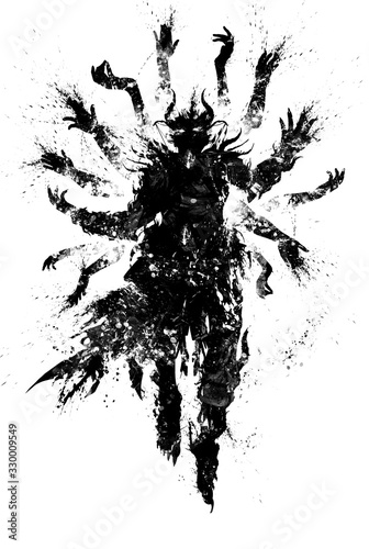 Leinwand Poster A blotchy textural silhouette of a demon wizard floating majestically in the air, clad in a ragged robe, surrounded by a multitude of levitating magic hands