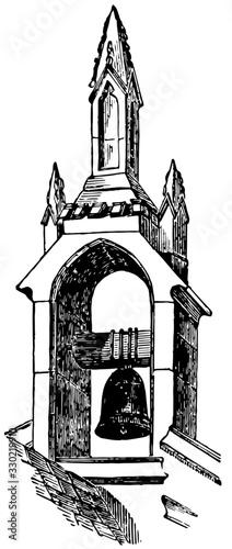 Fotografia Belfry in Idbury Oxfordshire, enclosing bells,  vintage engraving