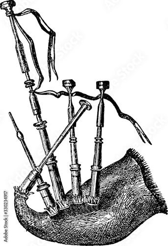Valokuvatapetti Bagpipe/Wind Instrument, vintage illustration.