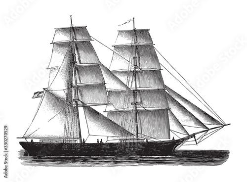 Valokuvatapetti Old sailing ship - Brig / vintage illustration from Brockhaus Konversations-Lexi