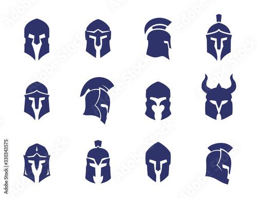 helmets set, spartan, greek and roman, gladiator helmet Fototapeta