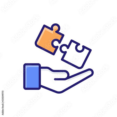 Fotografie, Tablou Bancassurance Insurance icon Flat Vector Illustration.