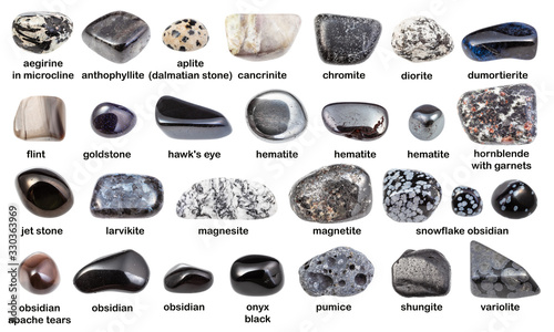 set of various dark gemstones with names isolated