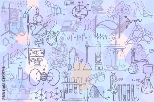 Photo Physics or chemistry abstract illustration with parts of decorative tools and diagrams on   white board
