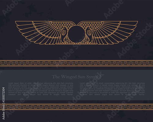 Fotografie, Tablou Vector design template Egyptian fertility goddess Isis isolated on the hand-draw
