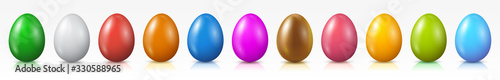 Photo Easter eggs set, collection of colored eggs, Easter symbol - vector