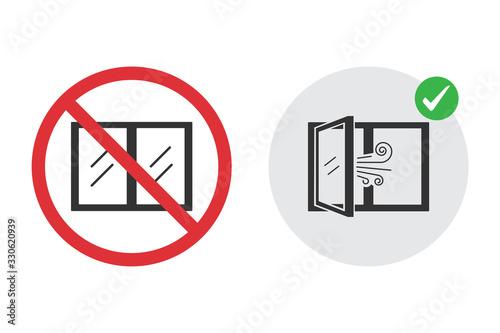 Fotografija No closed window icon and open window for fresh air