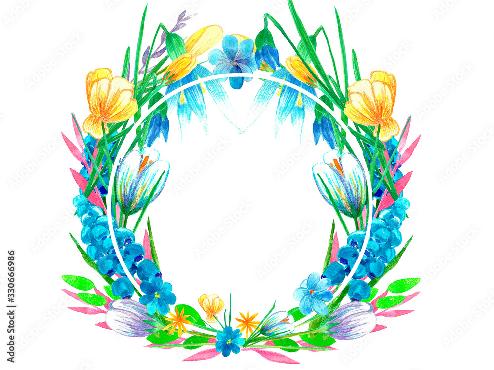 Beautiful bright watercolor floral wreath. Spring flowers, branches, leaves. Hand painted illustration isolated on white background. Perfectly for greeting card design. <span>plik: #330666986   autor: TrishaMcmillan</span>