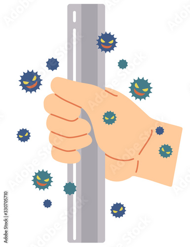 Valokuvatapetti 手すりをつかむ事によるウィルス感染
