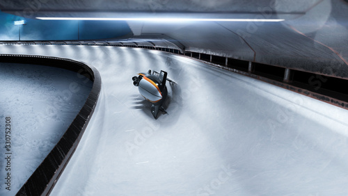 Leinwand Poster Bobsleigh sport in evening. Render 3D. Illustration.