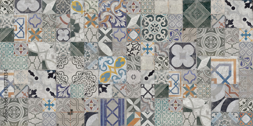 Colorful vintage old ceramic tiles wall decoration Fototapete