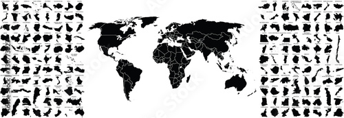 Fotografia, Obraz big set of countries maps and world map with countries borders