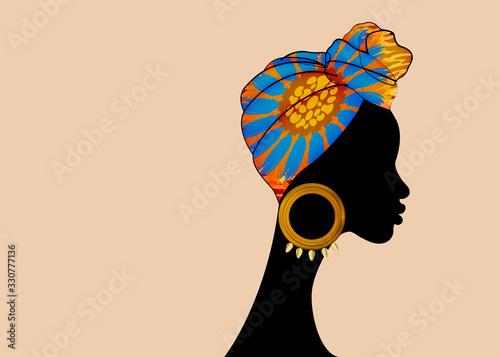 Wallpaper Mural portrait beautiful Afro woman in Shenbolen Ankara Headwrap