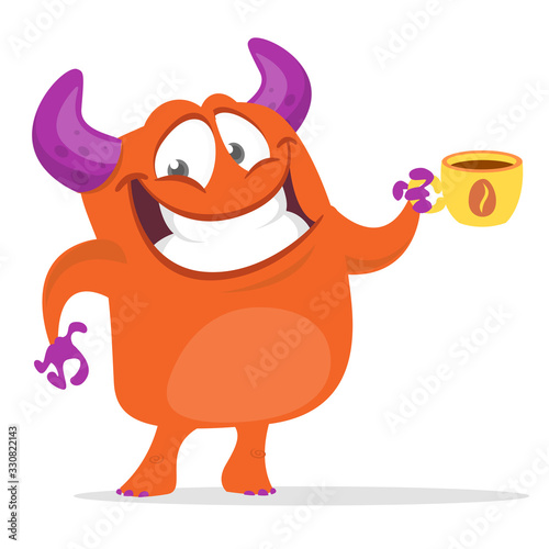 Canvas Print Funny cartoon monster. Vector Halloween illustration.