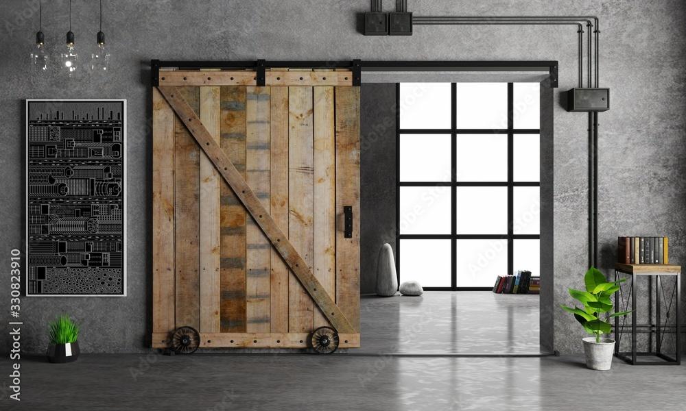 Barn Sliding Wooden Door in Loft Room <span>plik: #330823910 | autor: denisik11</span>